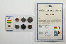 Bolivien , Boliviano - Kursmünzen / Münzdokument / Das Geld der Welt