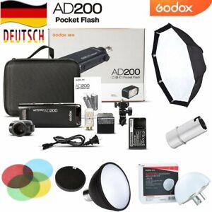 DE Godox AD200 TTL HSS 2,4G 1/8000 Blitzgerät Flash+AD-S2+AD-S11+AD-S7+AD-S17