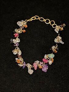 Artisan Gold Tone Amethyst Garnet Quartz Nephrite Charm Bracelet