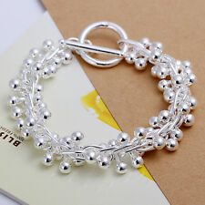 "925Sterling Silver Smooth Ball Grapes TO Clasp Men Chain Women Bracelet 8"" H019"