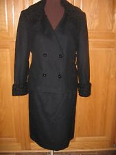 Vintage Neiman Marcus Women's BLACK WOOL SUIT SIZE 10 CURLY LAMB COLLAR & CUFFS