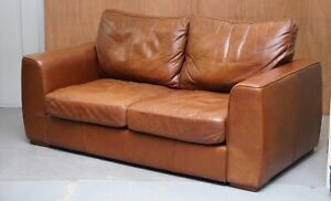 LOVELY HALO VINTAGE BROWN LEATHER TWO SEATER SOFA