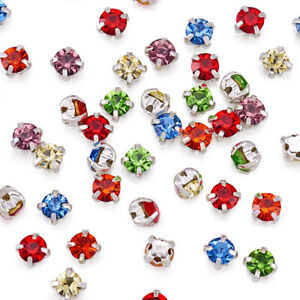 50 Pcs Glass Sew on Rhinestone with Brass Prong Settings Garments Accessories