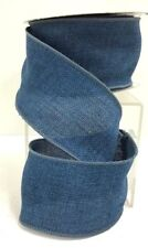 """Blue Linen Wired Ribbon~2 1/2"""" W x 9 Yds."""