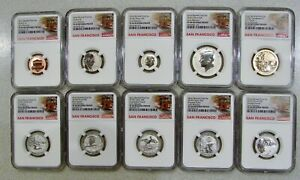 2018 S - 10-Coin Silver Reverse Proof Set - NGC PF 69 - Individually Holdered