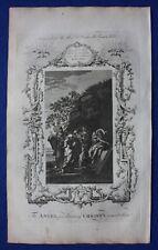 ORIGINALE antico Bibbia stampa Angel proclamando CRISTO resurrezione, 1774