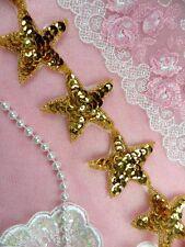"Star Trim Gold Sequin Beaded Iron On 2"" Banding Stars Hot Fix DIY (XR360-gl)"