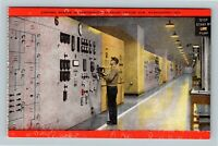 Grand Coulee Dam WA, Control Boards In Powerhouse, Washington Linen Postcard