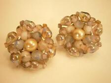 Made In Western Germany Vintage 1950's Faux Pearl Cluster Earrings  1492s