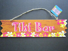 Tiki Bar Tropical LUAU Bright Pink Colorful Wood Color SignW/Luau Flowers NEW