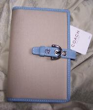 COACH Khaki Canvas Blue Leather /Photo album Holder 4 handbag #FS2394 NWT
