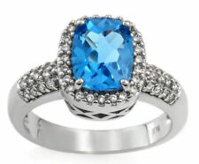 2.00ctw Diamond & Topaz Ring 14K Solid White Gold