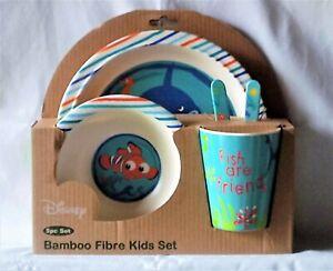 NEW DISNEY Nemo 5 pc Bamboo Fibre Kids Dinnerware Set Fish Friends Shark Ocean
