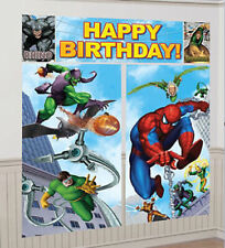 SPIDERMAN superhero Scene Setter HAPPY BIRTHDAY party wall decoration kit 6'