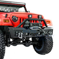 Rock Crawler Stubby Front Bumper+Winch Plate+2pcs LED fit 97-06 Jeep Wrangler TJ