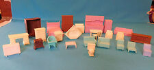 VINTAGE SUPERIOR & OTHERS DOLL HOUSE FURNITURE 26 PIECES KITCHEN BATH TV SOFA