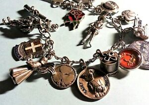 Vintage Sterling Silver Charm Bracelet & 16 Charms, 52gr, Loaded, Mixed Theme
