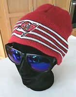 NFL Buccaneers Hat Beanie Skull Caps 1 Size Toque Red White Knit Wear Winter Ear