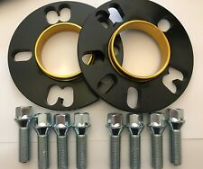 2 X 10mm BIMECC BLACK HUB SPACERS + 8 X M12X1.5 SILVER BOLT VAUXHALL 4X100 56.6