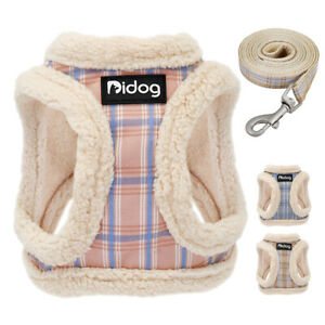 Soft Fleece Dog Harness and Lead Pet Cat Walking Vest for Small Puppy Dogs XXS-M