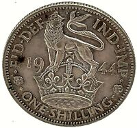 Great Britain 1944  Silver One Shilling King George VI Coin KM#853