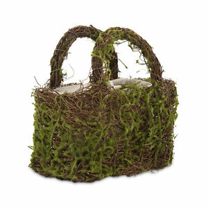 Faux Moss and Wicker Basket with Lining and Handles