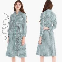 NWT J. Crew Womens 6 Blue Green Striped Midi Shirtdress With Sash And Pockets