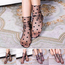 Stylish Womens Lace Ruffle Ankle Socks Elastic Ultrathin Sheer Short Socks Black