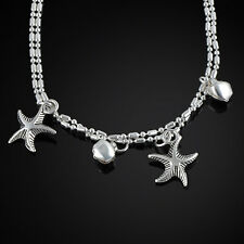 Women Silver Chain Anklet Charm Starfish Beads Anklets Beach Foot Chain Jewelry