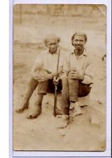 Real Photo Postcard RPPC - Black Americana Two Men Outdoors with Rifle