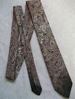 Vintage Tie MENS Slim Necktie Retro PAISLEY BROWN GREY