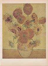 "1939 Vintage ""SUN FLOWERS"" BY VAN GOGH SUNFLOWERS Color Art Plate Lithograph"