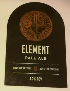 Beer pump clip badge front HOP KETTLE brewery ELEMENT real ale Wiltshire