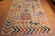 Natural Wool 5x7 FT. Southwestern Floral Kazakh handmade tribal kilim kelim