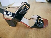 Cafè noir sandales cuir verni noir NEUVES Valeur 99E Pointures 39