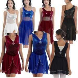 Women's Shiny Sequins Lyrical Dance Dress Mesh Skirted Leotard Ballet Dancewear