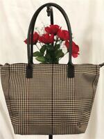 Lauren Ralph Lauren Classic Plaid Leather Trims Houndstooth Large Zips Tote Bag