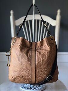 "FOSSIL ""Desi"" Camel Tan Embossed Leather Hobo Shoulder Handbag Crossbody Tote"