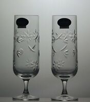 """2 Royal Doulton Crystal """"jasmine"""" Cut Champagne Flutes-Boxed- 6 1/5""""Tall-Signed"""