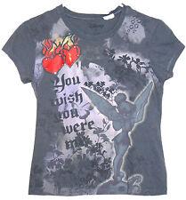 Tinker Bell You Wish You Were Me T-Shirt MEDIUM Gray Peter Pan Disney Heart
