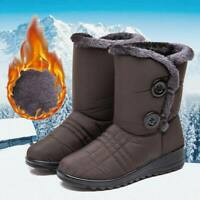 Womens Winter Warm Fur-lined Mid Calf Snow Boots Slip On Waterproof Warm Shoes @