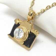 NEW BLACK & GOLD CRYSTAL CAMERA PENDANT NECKLACE