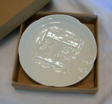 "MUD PIE Cream Porcelain Soap Dish ""H"" Embossing NIB"