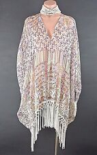 4 Love & Liberty Johnny Was Shawl Cape Floral Cover up Fringe Wrap Bohemian SILK