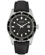 Bulova Men's 98B275 Quartz Black Leather Strap Sport Watch