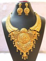 22K Gold Plated Indian 10'' Long Wedding Necklace Earrings Bridal Heavy Set a