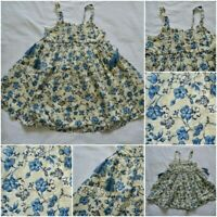 NEW NEXT GIRLS SUN DRESS BLUE CREAM FLORAL BUTTERFLY COTTON SUMMER AGE 3 - 12