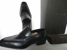 GUCCI BLACK LEATHER MEN'S SHOES SIZE 40 EEE NEW IN BOX MADE IN ITALY