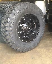 "18"" Fuel Krank Black Wheels 35"" MT Tires Package 6 Lug Chevy GMC Ford F150 6x5.5"