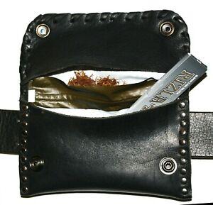 Black Leather Belt Tobacco Pouch Pocket Bag,Holder Case Hand Made